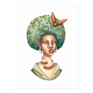 Go with the Fro -  Lady with Green Afro Unique Art Postcard