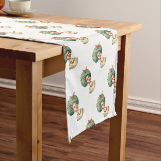 Go with the Fro -  Lady with Green Afro Unique Art Short Table Runner