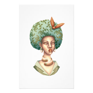 Go with the Fro -  Lady with Green Afro Unique Art Stationery