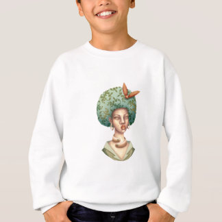 Go with the Fro -  Lady with Green Afro Unique Art Sweatshirt