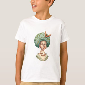 Go with the Fro -  Lady with Green Afro Unique Art T-Shirt