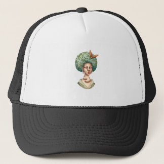 Go with the Fro -  Lady with Green Afro Unique Art Trucker Hat