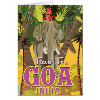 Goa Elephant indian vacation poster Card