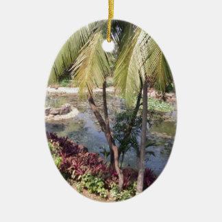 Goa India Garden Ceramic Oval Ornament