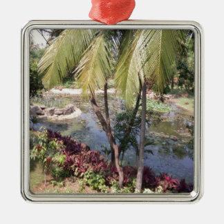 Goa India Garden Silver-Colored Square Ornament