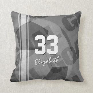 Goal black gray white personalized women's soccer throw pillow