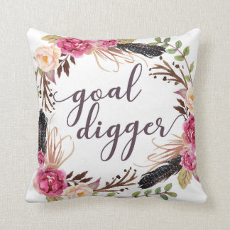 Goal Digger Boss Boho Feathers Home Decor Pillow