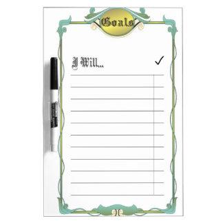 Goal List Dry Erase Board