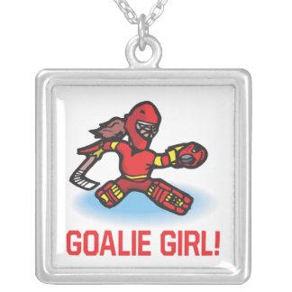 Goalie Girl Square Pendant Necklace