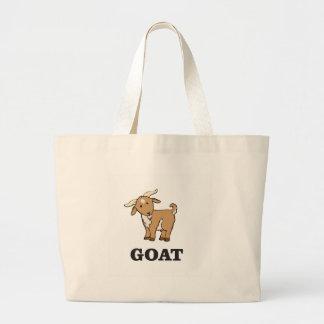 goat art cartoon large tote bag