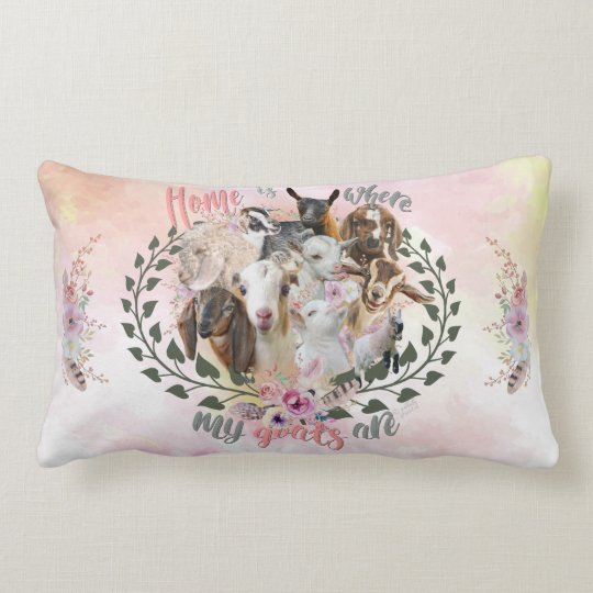 GOAT ART | Home is Where My Goats Are GetYerGoat Lumbar Pillow