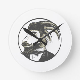 Goat Beard Tie Tuxedo Circle Drawing Wallclocks