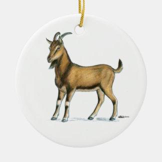 Goat:  Brown Round Ceramic Ornament