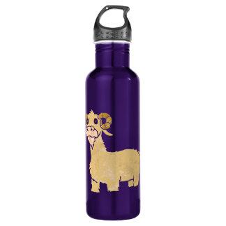 Goat cartoon. 710 ml water bottle