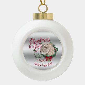 GOAT | Christmas Wishes Baby Goat Kisses Angora Ceramic Ball Christmas Ornament