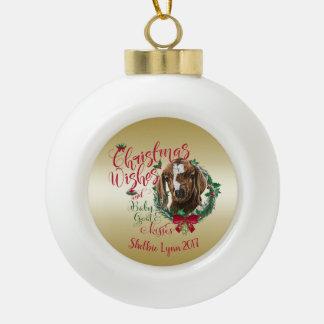 GOAT | Christmas Wishes Baby Goat Kisses Boer Ceramic Ball Christmas Ornament