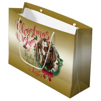 GOAT | Christmas Wishes Baby Goat Kisses Boer Large Gift Bag