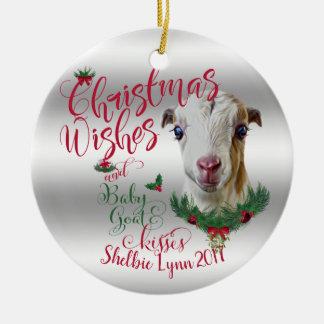 GOAT | Christmas Wishes Baby Goat Kisses LaMancha Ceramic Ornament