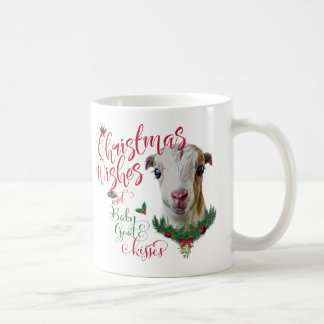 GOAT   Christmas Wishes Baby Goat Kisses LaMancha Coffee Mug