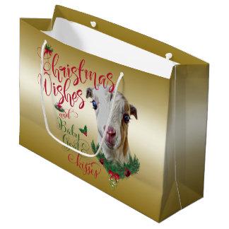 GOAT |Christmas Wishes Baby Goat Kisses LaMancha Large Gift Bag