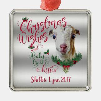 GOAT | Christmas Wishes Baby Goat Kisses LaMancha Metal Ornament