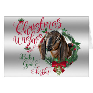 GOAT | Christmas Wishes Baby Goat Kisses Nubian 2 Card