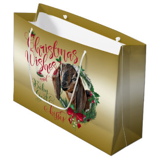 GOAT | Christmas Wishes Baby Goat Kisses Nubian 2 Large Gift Bag