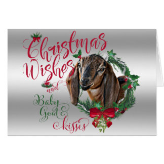 GOAT | Christmas Wishes Baby Goat Kisses Nubian 3 Card