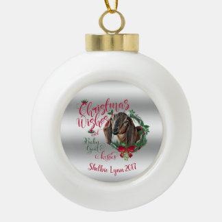 GOAT | Christmas Wishes Baby Goat Kisses Nubian 3 Ceramic Ball Christmas Ornament