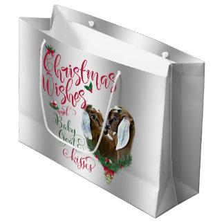 GOAT | Christmas Wishes Baby Goat Kisses Nubian 3 Large Gift Bag