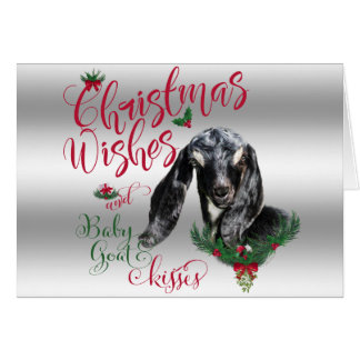 GOAT | Christmas Wishes Baby Goat Kisses Nubian Card
