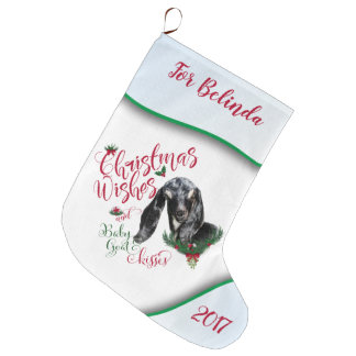 GOAT | Christmas Wishes Baby Goat Kisses Nubian Large Christmas Stocking