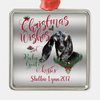 GOAT | Christmas Wishes Baby Goat Kisses Nubian Metal Ornament