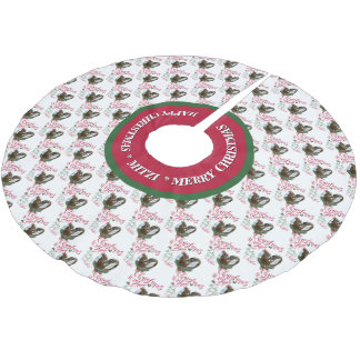 GOAT | Christmas Wishes Baby Goat Kisses Nubians Brushed Polyester Tree Skirt