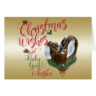 GOAT | Christmas Wishes Baby Goat Kisses Nubians Card