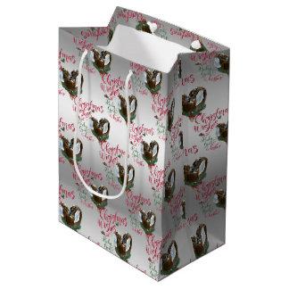 GOAT | Christmas Wishes Baby Goat Kisses Nubians Medium Gift Bag