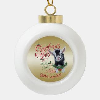 GOAT | Christmas Wishes Baby Goat Kisses Pygmy Ceramic Ball Christmas Ornament
