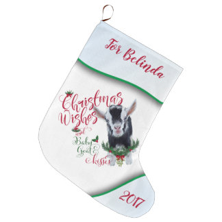 GOAT | Christmas Wishes Baby Goat Kisses Pygmy Large Christmas Stocking