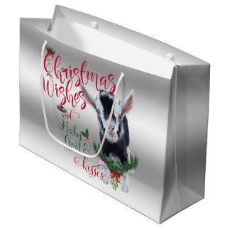 GOAT | Christmas Wishes Baby Goat Kisses Pygmy Large Gift Bag