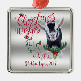GOAT | Christmas Wishes Baby Goat Kisses Pygmy Metal Ornament