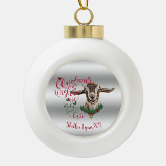 GOAT | Christmas Wishes Baby Goat Kisses Togg Ceramic Ball Christmas Ornament