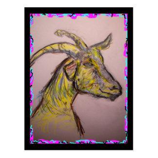 goat drawing postcard