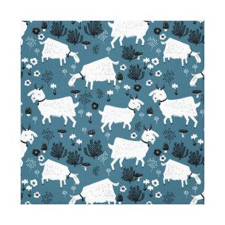 Goat Farm Animal Blue Baby Kid Boy / Andrea Lauren Canvas Print