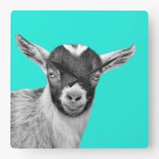 Goat farm animal photo nursery black and white wallclock
