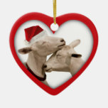 Goat Farmer Lovers Wedding or Anniversary Heart Ceramic Heart Ornament