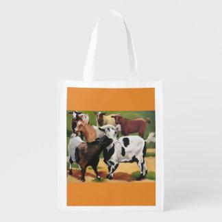 Goat group reusable grocery bag