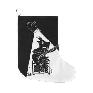 Goat Guitarist Large Christmas Stocking
