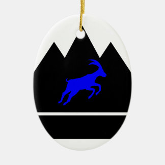 Goat in a Mountain Ceramic Ornament