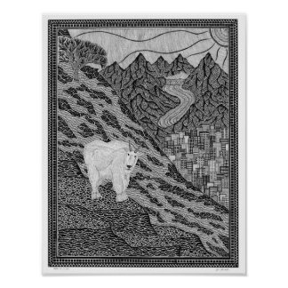 Goat on a Cliff Poster