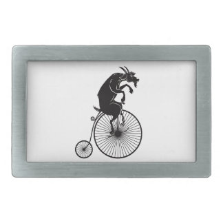Goat on Vintage Bicycle Rectangular Belt Buckles